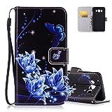 Aeeque Housse Etui de Protection pour Samsung Galaxy J5 2016 - Motif Papillon et Fleur Bleu Antichoc...