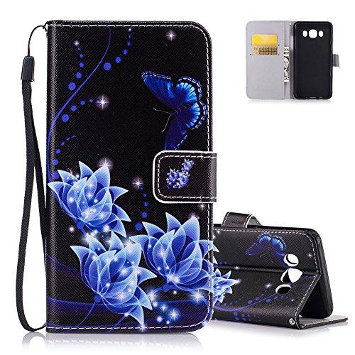 Aeeque Galaxy J510 Ledertasche Schutzhülle,Vintage Glitzer Blau Schmetterling Blume Muster Lederhülle,Kartenfach Standfunktion Handytasche für Samsung Galaxy J5 SM-J510F Hülle -