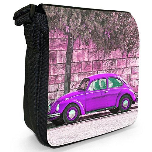 Old Classic, auto-Borsa a tracolla in tela, piccola, colore: nero, taglia: S Nero (Old Classic Purple Beetle Car)