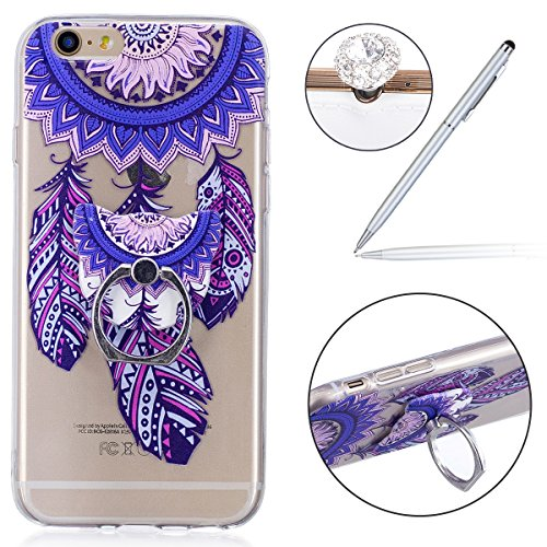 Felfy Case iPhone 6S Silicone,iPhone 6S Coque Transparente,iPhone 6 Coque Anti Choc Doux TPU Silicone Etui Housse avec Flamant Papillon Fille Motif Ultra Mince Transparent Crystal Clair Coque de Prote Ring Carillons Bleu