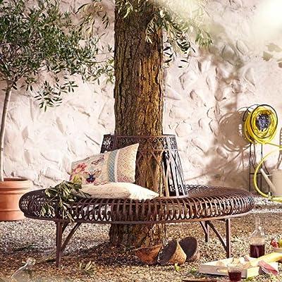 Gartenbank Baumbank, halbrund, Eisen, Antik-Braun, ca. B148 x T74 x H78 cm von PureDay auf Gartenmöbel von Du und Dein Garten