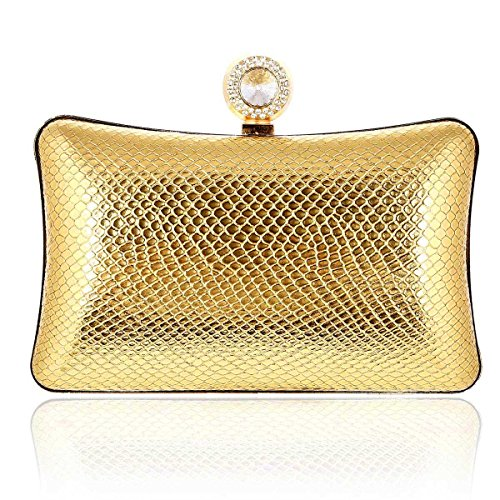 Damara® Damen Einfarbig Strich Hartschalen Clutches Mit Luxus Strassstein Gold