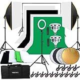 HAKUTATZ® Professionele fotostudio set studiosets achtergrondsysteem greenscreen softbox ringlicht met beschermtas studiolamp