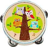 Unbekannt Tamburin - aus Holz -  lustige Eulen auf dem Baum  - mit Metall Schellen / für Kinder & Erwachsene - Perkussion - Tambourin - Handtrommel - Musikintrument /..