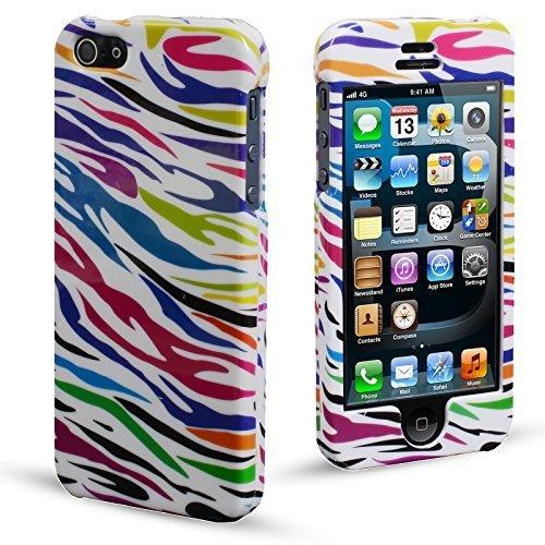 MadCase® Apple iPhone 5S/5ULTRA DÜNN Cute Design Serie Glossy 2Part Case Cover Bumper Rainbow Zebra