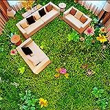 Syssyj Benutzerdefinierte Mural Tapete Moderne Pastoralen Blumen Gras Rasen 3D Bodenfliese Aufkleber Balkon Wohnzimmer Pvc Selbstklebende Tapeten-280X200CM