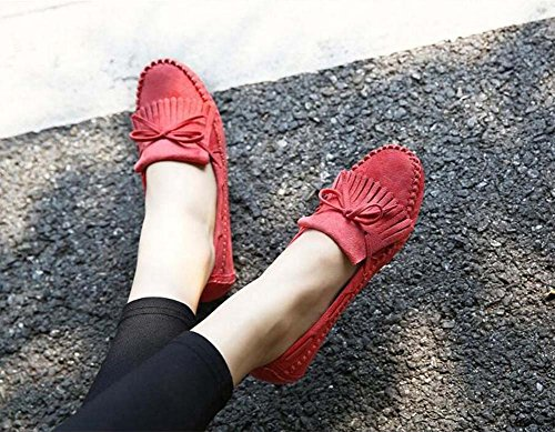 Ballside Dockside Ballerine Chaussures Mocassins Slip On Femmes Simple Bout Rond Seude Pur Couleur Bowknot Gland Bas Bas Chaussures Casual Chaussures De Course Chaussures Femme Enceinte Chaussures Eu Taille 35-41 Pastèque Rouge