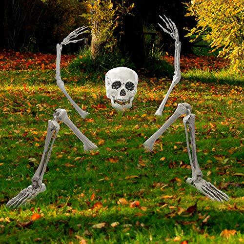 Prextex.com Gruselige Friedhofsdeko für Halloween, aus der Erde Steigendes Skelett für Ihre Halloween-Deko
