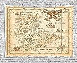 YANAN, arazzo con Mappa dell'Oceano, Antica Mappa del Tesoro Antica con Dettagli in Stile retrò, Stampa Pirata, per Camera da Letto, Soggiorno, dormitorio, Dimensioni: 203,2 x 152,4 cm, Colore: Crema
