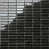 Carrelage mosaïque en verre. Noir Avec des paillettes multicolores. Motif brique. Les feuilles entières de carreaux mesurent 30cm x 30cm (MT0010)