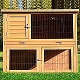 Zooprimus Kaninchenstall 03 Hasenkäfig - HAPPY - Stall für Außenbereich (für Kleintiere: Hasen, Kaninchen, Meerschweinchen usw.)