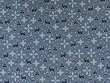 Weihnachtsstoff Hirsch & Co., blaugrau , Meterware ab 0,5