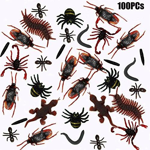 100er set Kunststoff Insekten Plastik Spielzeug Schaben, Spinnen, Skorpione, Ameisen, Geckoes, Tausendfüßler und Worms für Allerheiligen