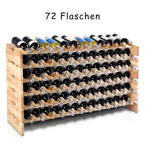 COSTWAY Weinregal aus Holz Flaschenregal Weinständer Holzregal Weinschrank Flaschenständer für 72 Flaschen