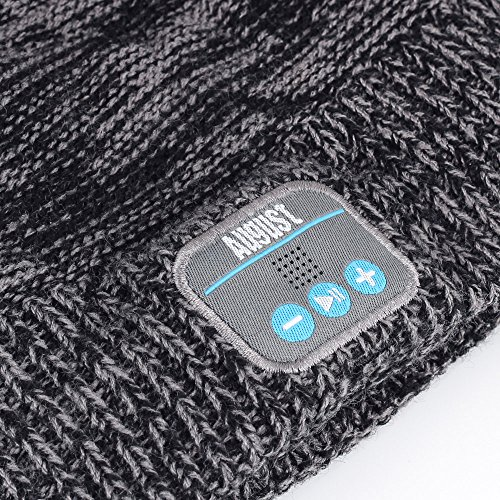 August EPA30 - Bluetooth Mütze - Winter Strickmütze mit Bluetooth Stereo Kopfhörer, Mikrofon, Freisprechen und integriertem Akku - Kompatibel mit Smartphones, Handys, Tablets, iPhone, iPad, Laptops (Kobalt) - 2