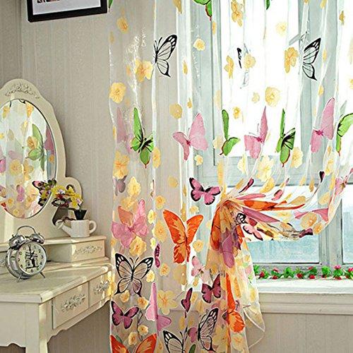 Anself 2St Dünn Fenster Gardine Vorhang Gardine mit Schmetterling und Blume Muster 100*200CM (Schiere Schmetterling Stoff)