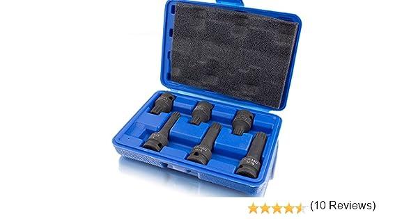bituxx/® 6/pi/èces Cl/é /à douille Noix de Set de douilles /à chocs XZN Grand /à dents /à lint/érieur 2/x M14/2/x M16/2/x M18 emmanchement carr/é 1//2/