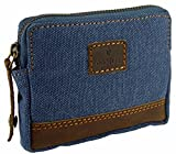Ladies Mens Quality Canvas RFID Protected Credit Card Holder & Coin Zip Purse (Denim)