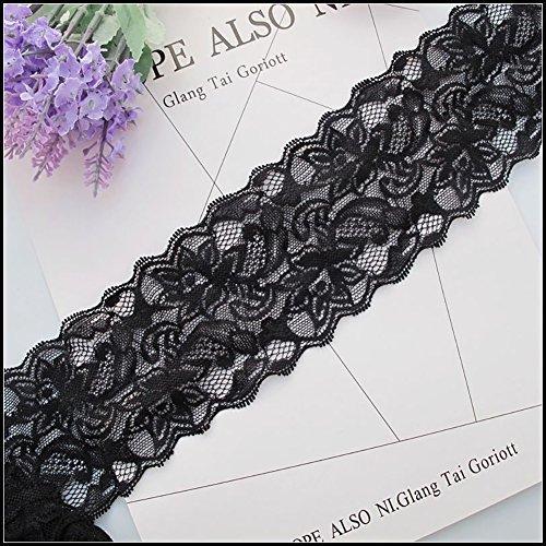 7,6cm schwarz Spitzenband, Floral Lace Trim, elastische Spitze für Basteln, Dekorieren, Hair schleifenbinden und Geschenkverpackungen (10Meter) -