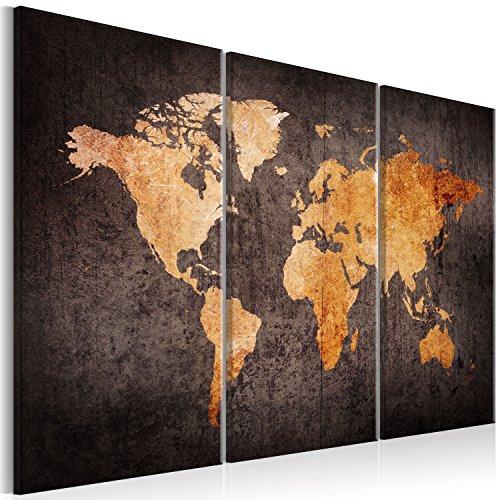 murando Impression sur Toile intissee Carte du Monde 120x80 cm Tableau 3 Parties Tableaux Decoration Murale Photo Image Artistique Photographie Graphique Vintage k-A-0337-b-g