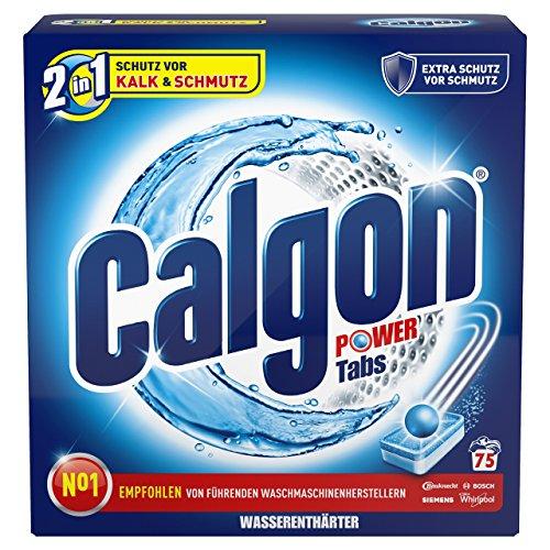 Calgon Caja de 75 pastillas antical 2 en 1, para proteger y limpiar la lavadora