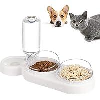 auvstar 3 in 1Doppio Ciotole per Gatti, 15°Ciotola Gatto Inclinato Anti-Vomito con Supporto Rialzato,Scodella Animali…