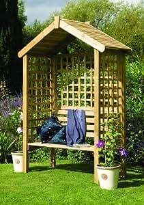 Tonnelle de Jardin en Bois Treillis - Banc de Jardin 2 places avec Toit solide, Pans latéraux Treillis et Pan arrière pour plantes grimpantes - Garantie 15 ans