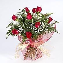 Ramo de 12 rosas rojas naturales FLORES FRESCAS-ENVIO EN 24 HORAS