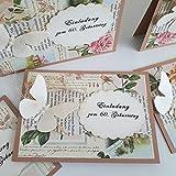 8 Einladungskarten Einladung zum Geburtstag Geburtstagseinladung Geburtstagskarten Vintage Handarbeit binnbonn