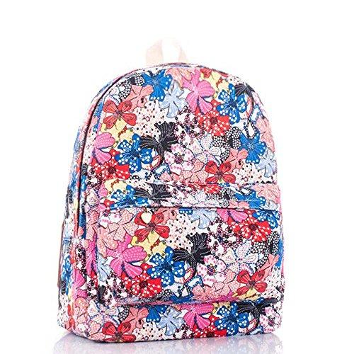 Borsa blu e viola vintage floreale stampato sacchetto di zaino per scuola della borsa del computer portatile dello zaino della tela di canapa per le ragazze delle ragazze delle ragazze Floreale colorato