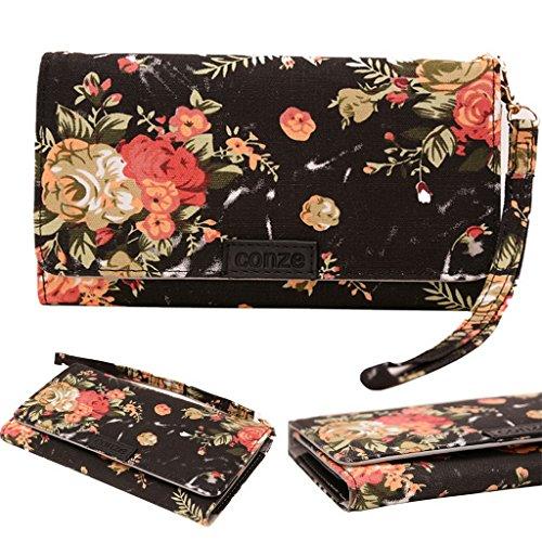 Conze Fashion Cell Phone Carrying piccola croce borsa con tracolla per Sony Xperia M4Aqua/Dual Black + Flower Black + Flower