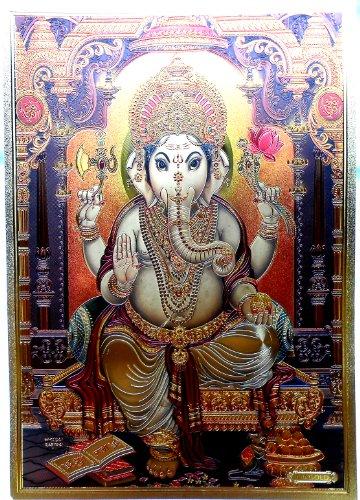 Bild POSTER Ganesha Ganesh goldfarben aus Kunststoff 30x21 cm Nr.23 - Ganesha-bild