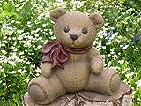 Tiefes Kunsthandwerk Steinfigur Teddy-bär groß Hellbraun, Deko Figur Garten