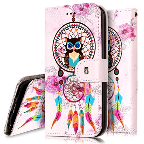 Coque Etui pour Apple iPod Touch 5 6,iPod Touch 6 Coque Portefeuille PU Cuir Etui,iPod Touch 6 Coque de Protection en Cuir Folio Housse, iPhone 7 Leather Case Wallet Flip Protective Cover Protector, U Hibou Campanula