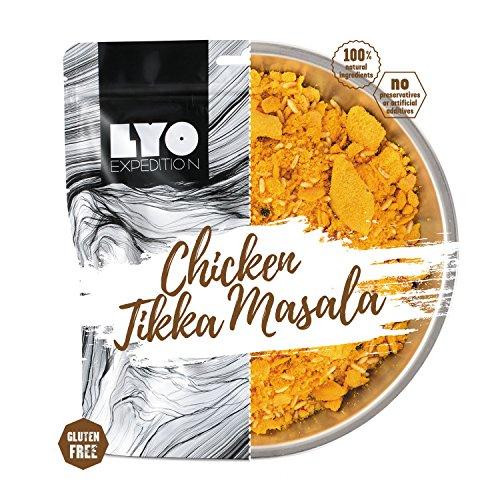 LYOFOOD Chicken Tikka Masala 370g | Gefriergetrocknetes Glutenfreies Essen 2 Go Camping Wandern Verpflegung Nahrung Fleisch Hähnchen Notfall Lebensmittel für Unterwegs Bundeswehr Haltbar