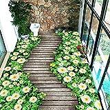 Benutzerdefinierte Boden Wandbild Tapete Blumen Holzbrett Kleine Straße 3D Bodenbelag Wohnzimmer Schlafzimmer Balkon Pvc Boden Aufkleber Wohnkultur, 350X260Cm