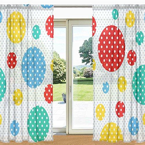 Alaza carino cerchi colorati con pois stampati finestra pura e tenda della porta 2 pannelli 55