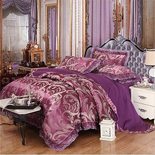 SHJIA Bettwäsche-Sets Jacquard Königin King Size Bettbezug Set Hochzeitsbettwäsche Bettwäsche Bettbezug Lila 180x220cm Versace Jacquard