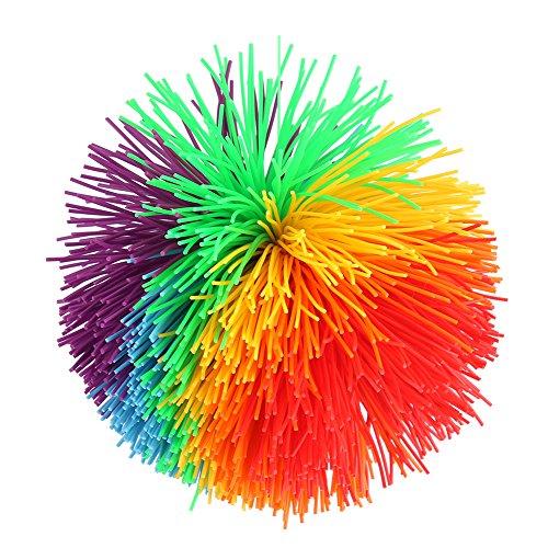 Zerodis Pompom Stretch Ball Puffer Regenbogen Pufferball Funball Ballspiele Silikon Elastisch Bunt