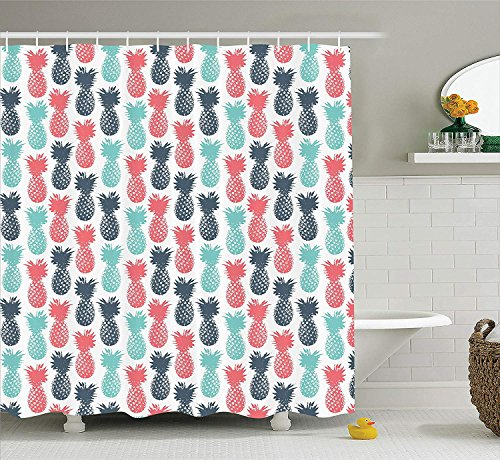 er Curtain, Island Pineapple Tropic Fruit Pattern Stamped Minimal Backdrop Pop Art, Fabric Bathroom Decor Set with Hooks, 66x72 inches, Turquoise Coral ()