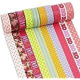 PsmGoods® Cinta decorativa Washi 10 Rollos colorido DIY adhesiva Cinta adhesiva de enmascaramiento (Grating Black)