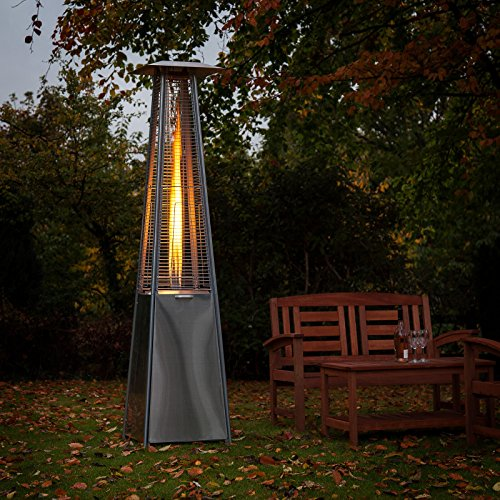 pyramid living flame garden gas patio heater floor standing in stainless steel total height - Gas Patio Heater