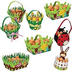 8er Set Osterkörbchen Osternest Filz Ostern Korb Geschenk Deko Frühling Blumen