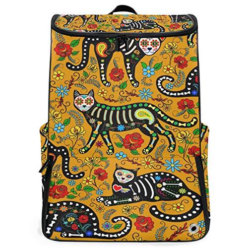 Karikatur-Katzen-Skelett-Blumen-bunter Rucksack, der für jugendlich Jungen-Mädchen wandert Perfekte Schulreise-Kindertagesstätte ()