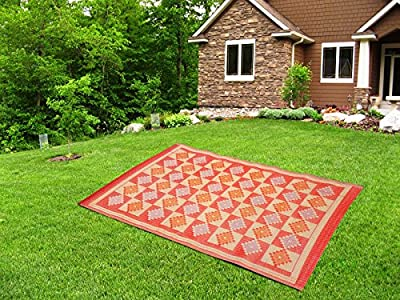 Love2Sleep NYLON OUTDOOR PICNIC WATERPROOF INDIAN RUG MAT BLANKET 120 X 180 CM - CREAM AND RED - low-cost UK light shop.