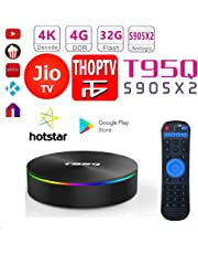 SreeTeK Android Box X96 T95Q 4GB 32GB Android Box for TV 4K, JIO TV HotStar Netflix YouTube Miracast & More, 2.4G/5GHz Dual WiFi BT Smart Android TV Box 4K
