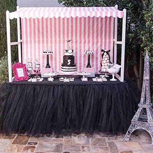 GWELL Tischröcke mit Tutu Tüll Tischdeko 91 x 79 cm Table Skirt für Hochzeit Geburtstag Baby Dusche Party Dekoration schwarz