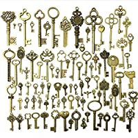 Antique Skeleton Key Charms Pendants for Crafting Supplies Jewelry Findings Making Accessory DIY Necklace Bracelet (90 Pieces)