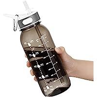 Borraccia Acqua, 1 Litre Bottiglia Acqua con cannuccia e manico, Borraccia Palestra senza BPA, borraccia con indicatore…