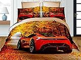 Juego de ropa de cama con diseño de coche deportivo rojo en 3D, 4 piezas, funda nórdica, fundas de almohada de 50 x 75 cm y sábana bajera, cama individual